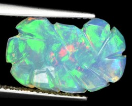3.94 Cts Natural Ethiopian Multi-Color Play Opal Carving