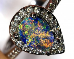 1ct 7.5x5mm Doublet Opal White Gold Plated CZ Ring Size 7 [GPC-017]
