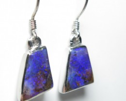 Queensland Boulder Opal Freeform Hand Made Silver Ear