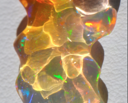 3.87ct Mexican Fire Opal Extremely Bright Carved