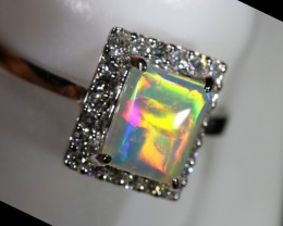 6.5 SIZE14 K  CRYSTAL OPALS WITH DIAMOND ENGAGEMENT RING [SOJ6455]