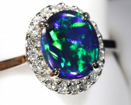 6.5 SIZE 14 k BLACK OPALS WITH DIAMOND ENGAGEMENT RING [SOJ6456]