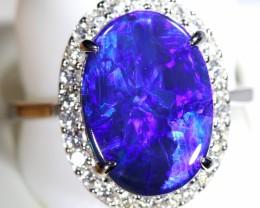 8.5 SIZE14K  BLACK OPALS WITH DIAMOND ENGAGEMENT RING [SOJ6458]