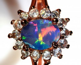 0.95ct 8x6mm Doublet Opal Rose Gold Plated CZ Ring Size 9 [GPC-018]