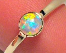 1.4g 14k Gold Genuine Natural Australian Opal Ring Solid Gem Crystal Gift #