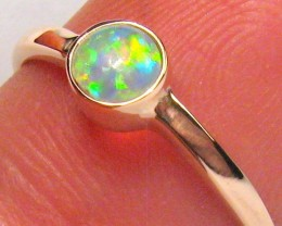 1.5g 14k Rose Gold Genuine Natural Australian Opal Ring Solid Gem Crystal #