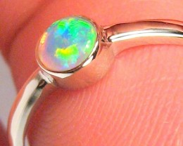 1.4g 14k White Gold Genuine Natural Australian Opal Ring Solid Crystal Gem