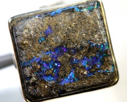 46.50- CTS BOULDER OPAL SILVER RING OF-2397