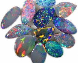 15.80 CTS OPAL DOUBLET PARCEL 12 STONES -PASTEL TONE- FROM LIGHTNING RIDGE-