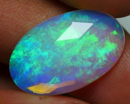 3.50 CRT BEAUTY FLAT FACETED BROADFLASH FLORAL PLAY COLOR WELO OPAL-