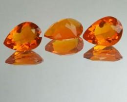1.68 Cts Natural Mexican Fire Opal Pear Cut 3 Pcs