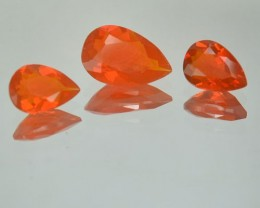 1.61 Cts Natural Mexican Fire Opal Pear Cut 3 Pcs