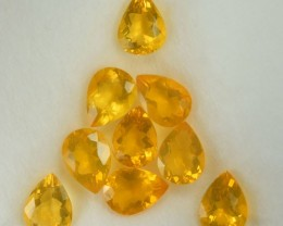 7.57 Cts Natural Mexican Fire Opal Pear Cut 9 Pcs