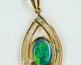 Rare Black Opal 18k solid Yellow Gold Pendant with diamonds BP040918