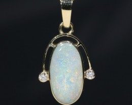Natural White Australian Boulder  Opal  and Diamond 18k  Gold Pendant