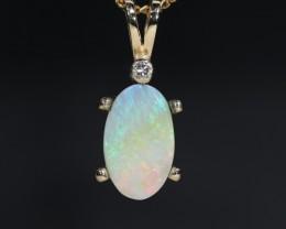 Natural Australian Boulder  Opal  and Diamond Gold Pendant