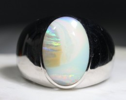 Natural Boulder Opal Mens Silver Ring -Size 12.75