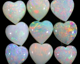 3.91CTS HEART SHAPE 9 STONES PARCEL COOBER PEDY -GREAT COLOR PLAY -S803