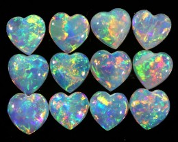 1.89CTS HEART SHAPE 12 STONES PARCEL COOBER PEDY -GREAT COLOR PLAY -S811