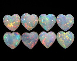2.45CTS HEART SHAPE 8 STONES PARCEL COOBER PEDY -GREAT COLOR PLAY -S813
