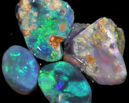 12.60 CTS BLACK OPAL RUBS PARCEL LIGHTNING RIDGE [BR5761]