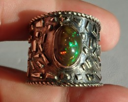 11SZ HONEYCOMB DARK BASE  WELO  OPAL HIGH QUALITY .925 STERLING FABULOUS RI