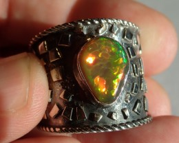 11.5SZ HONEYCOMB DARK BASE  WELO  OPAL HIGH QUALITY .925 STERLING FABULOUS