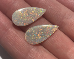 Pair of Australian Mintabie Semi Crystal Opal Solid Cut Stones, brilliant m