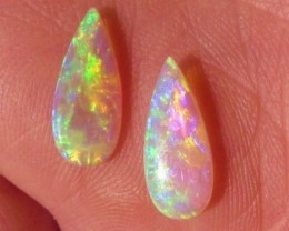 Stunning pair of Australian Mintabie Super Gem Crystal Opal Solid Cut Stone