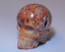 35ct Skull Pendant Extremely Bright Carved in Mexican Matrix Opal