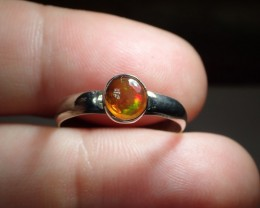 Sz7  MEXICAN SOLID CRYSTAL OPAL HIGH QUALITY .925 STERLING FABUL