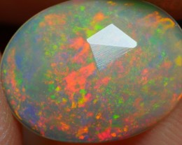 1.00 CRT DARK BASE FLAT FACETED PIN FIRE PATTERN WELO OPAL-