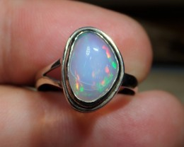 Sz6.5 SOLID CRYSTAL OPAL HIGH QUALITY .925 STERLING FABULOUS RING