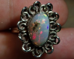 Sz7.5 SOLID CRYSTAL OPAL HIGH QUALITY .925 STERLING FABULOUS RING