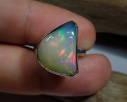 Sz8 SOLID CRYSTAL OPAL HIGH QUALITY .925 STERLING FABULOUS RING