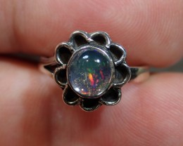 SZ3 MEXICAN WATER OPAL MIDI RING HIGH QUALITY .925 STERLING FABULOUS RING