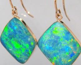 15.9ct 14k Rose Gold Large Dangle Australian Opal Earrings Gem Jewelry Gift