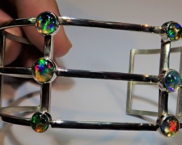 18carats MEXICAN FIRE OPAL BRACELET CUFF STERLING SILVER AWESOME CRAFTMANSH
