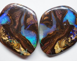 43.75CT VIEW PAIR QUEENSLAND BOULDER OPAL ZI140