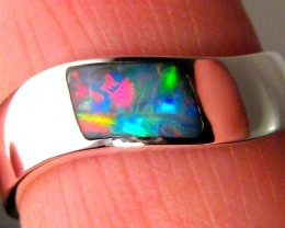 3.1g Sz 8 Genuine Australian Opal Ring Silver Inlay Pinky Ring Mens Unisex