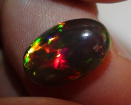 3.45 ct Rare Gem Quality Natural Dark Base Full Rainbow Welo Cab