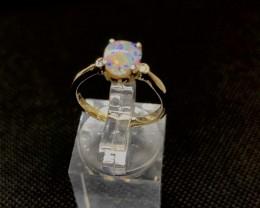 Stylish Opal and Diamond Gold Ring