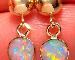 3ct 14k Gold Ball Stud Natural Australian Solid Opal Drop Earrings Jewelry