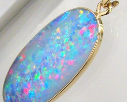 7.7ct 14k Gold Genuine Natural Australian Opal Pendant Inlay Necklace Gift