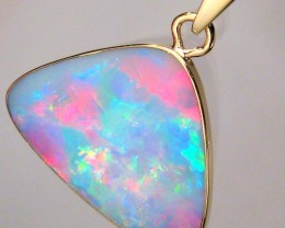 5.2ct 14k Gold Authentic Genuine Australian Opal Pendant Inlay Jewelry Gift