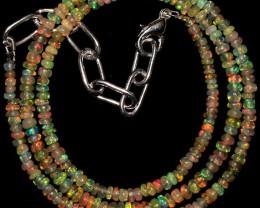 20 Crts 3 to 3.5 mm 15.6 Natural Ethiopian Opal Beads Necklace