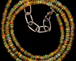 """21 Crts 3 to 3.5 mm 15.7 """"Natural Ethiopian Opal Beads Necklace 0733"""