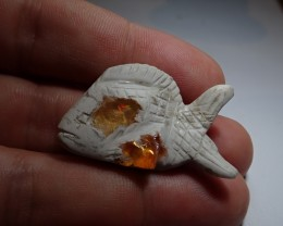 15CT fish carving mexican matrix opal