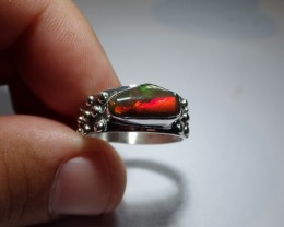 11.5 Sz Awesome Dark Not Enhanced  Fire Opal Solid Sterling Silver Ring