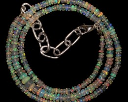 """22 Crts 2.5 to 5.5 mm 15.7 """"Natural Ethiopian Opal Beads Necklace 0875"""